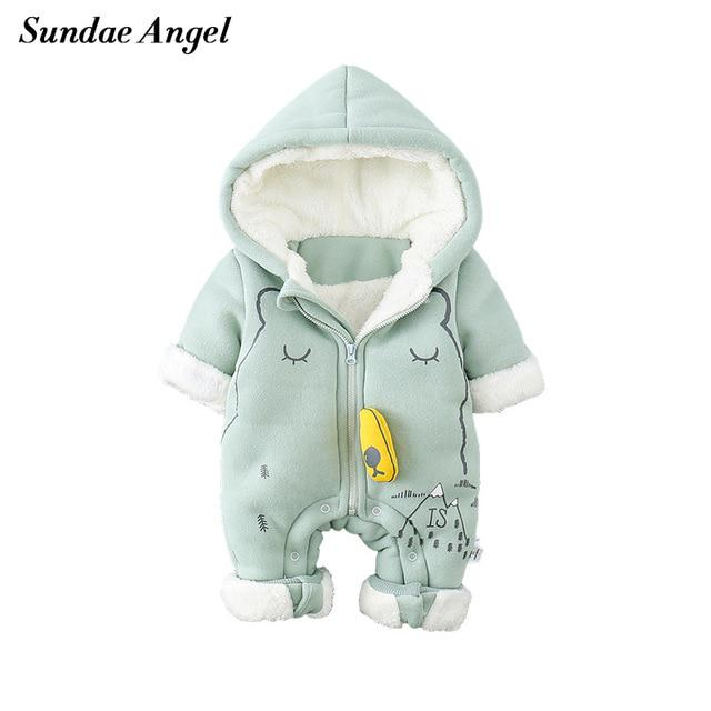 5c471a750af2 Newborn Baby Boys Warm Rompers Hooded Thick Arctic Velvet Girl ...