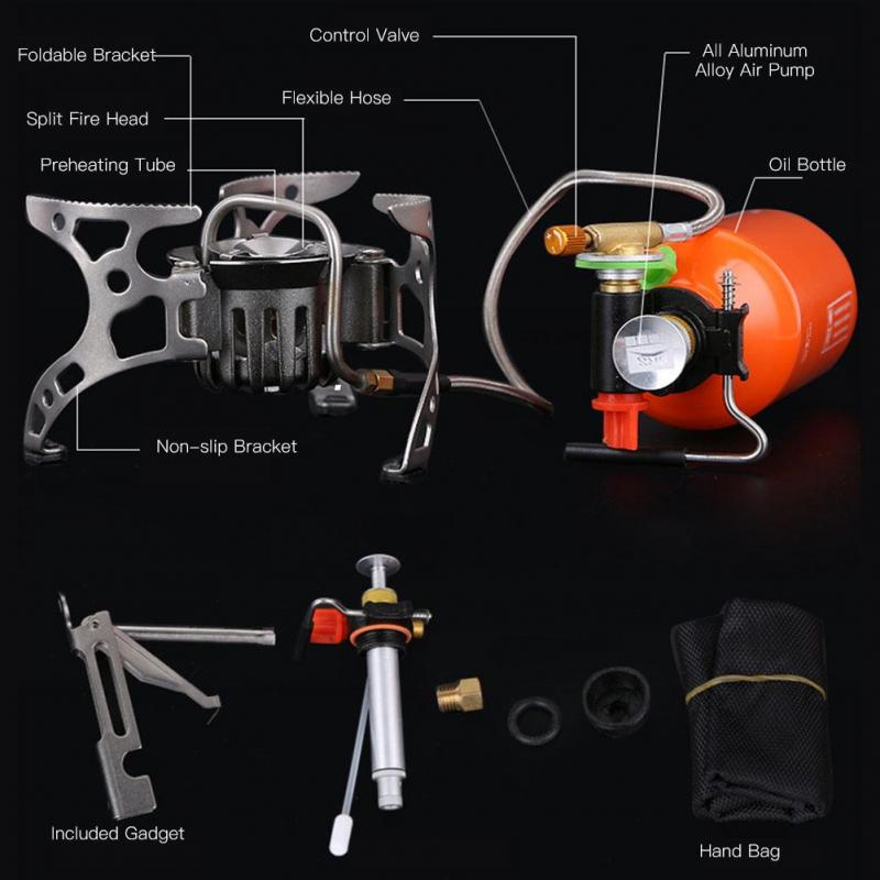 4500W Portable Outdoor Hiking Picnic Camping Stove Oil Gas Furnace Bottle Set