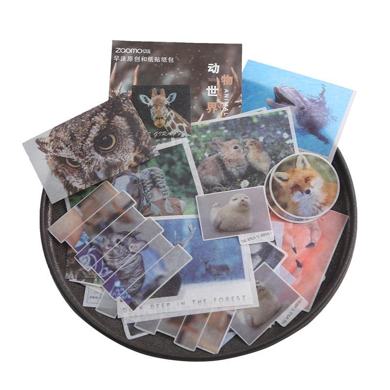 45pcs//set Cartoon Animal Paper Sticker Decoration DIY Ablum stickers ks