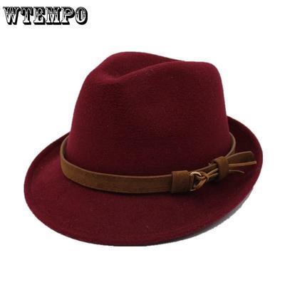 ab13313670d7e oZyc Wool Women Men Fedora Hat For Winter Autumn Elegant Lady Gangster  Trilby Felt Homburg Church
