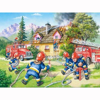 Round 5D Diamond-Painting Rhinestone Fireman Banner Cross-Stitch Kit for Child