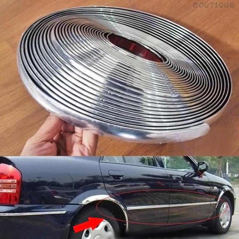 15M Silver 6mm Car Chrome DIY Moulding Trim Strip For Grille Window Door Bumper