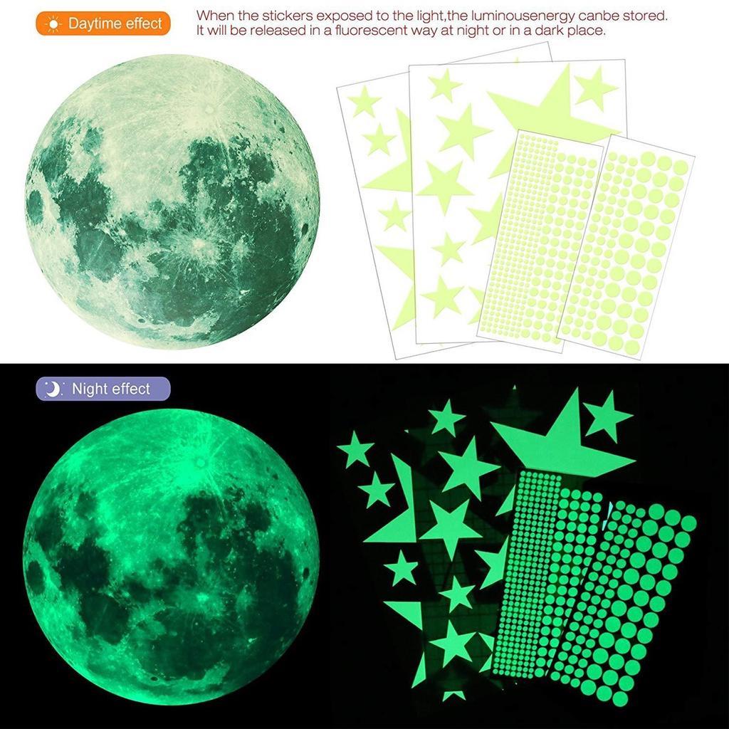 Наклейки на стену Луны земли планета светящиеся свечение в темноте настенные наклейки BL3