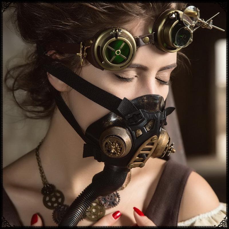 Gas Mask Gear Sipke Vintage Steampunk Cosplay Unisex Face Mask Custume