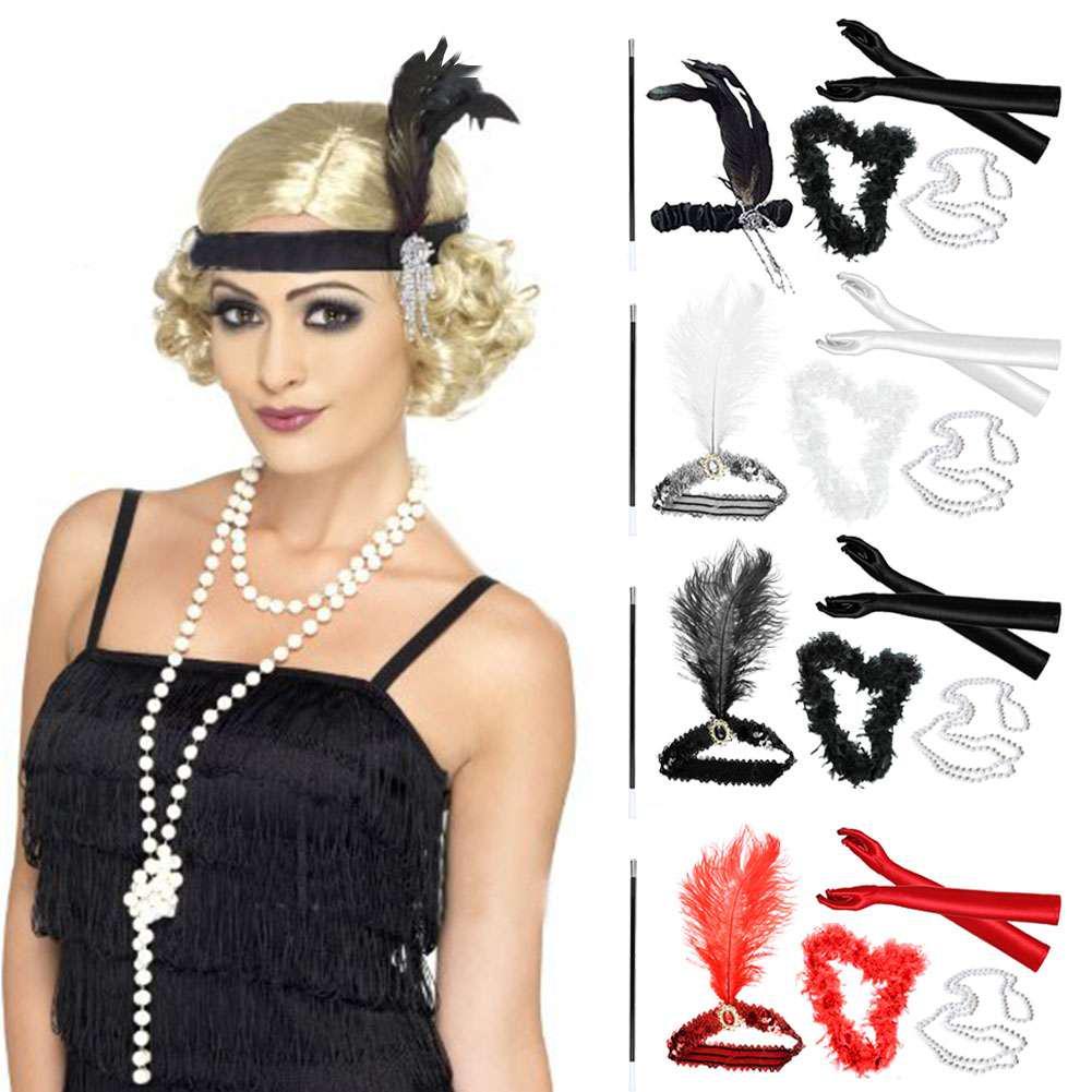 Creative 1920s Flapper Headband Bracelet Gloves Great Gatsby Headpiece Cosplay