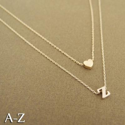 3acb5ef706 Fashion 26 Letters Multilayer Choker Necklace Trendy Love Heart Chain  Necklace Charm Jewelry