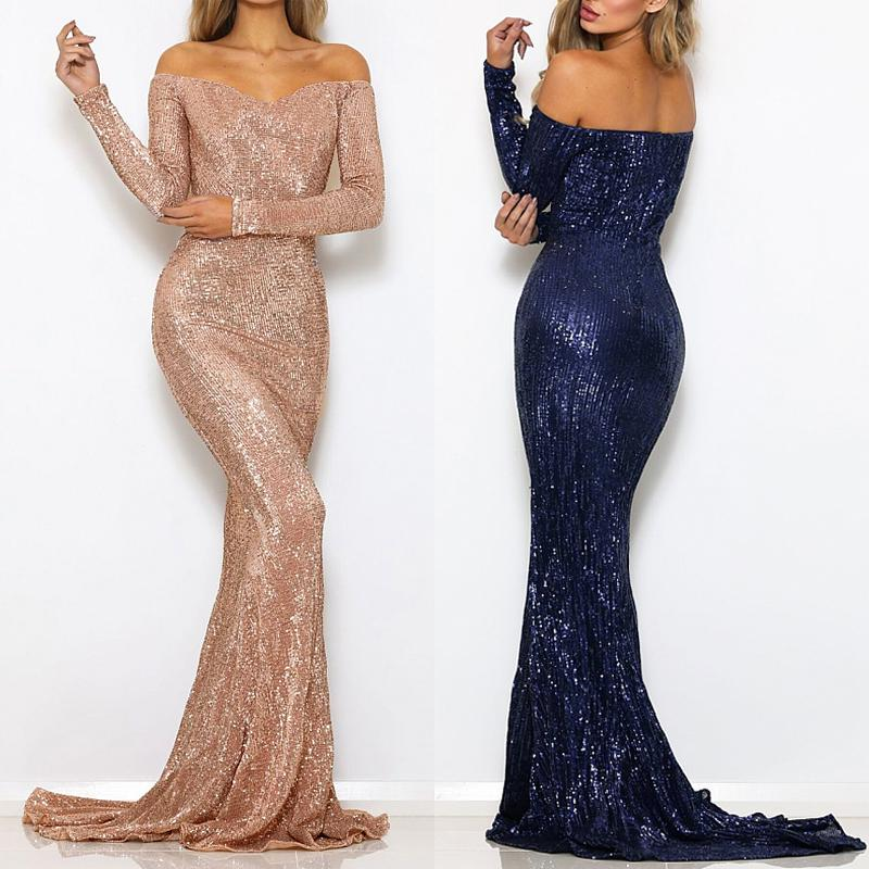 Buy Prom Dress Long Sleeve Off Shoulder Padded Stretchy Sequin Maxi Dress At Affordable Prices Free Shipping Real Reviews With Photos Joom