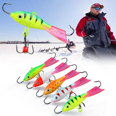 6PCS Fishing Lure Bait Glued Outer Layer Peacock Backthe Body Rubberized Bait Hs