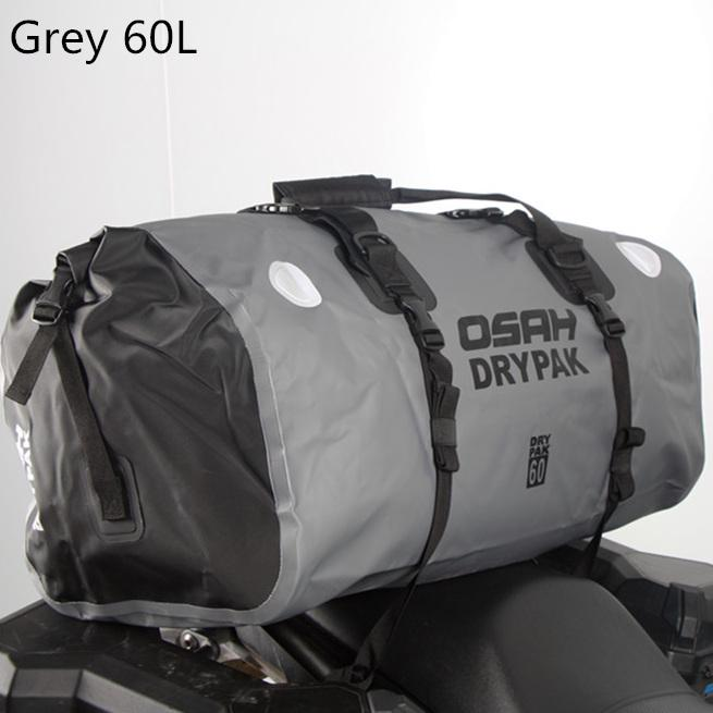 Gray Motorbike PVC Waterproof Reflective Tail Bag Motorcycle Saddle Luggage Outdoor Accessories 60L