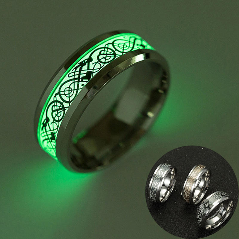 Luminous Ring Glow In The Dark Skull Band Ring Unisex Size 6-13 Stainless Steel