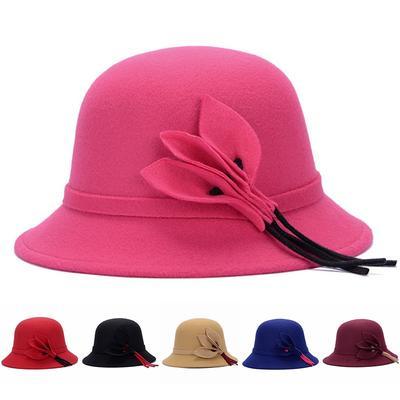 5e4887351b94a Womens Vintage Wool felt Hat Bowler Fedora Wide Brim Floppy Felt Cloche Cap  Cute
