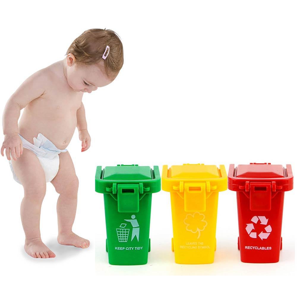 3pcs//set Cute Mini Trash Can Bin Toy Garbage Truck Trashcan Kids Toddlers