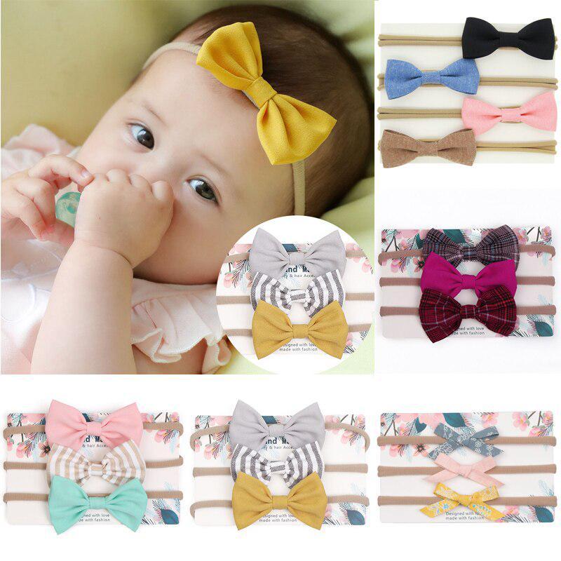 Kids Baby Girls Headband Hairband Set 3Pcs Cuekondy Cute Elastic Flower Bowknot Newborn Infant Toddler Photography Headwear Beige