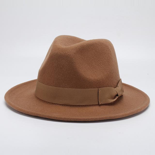 8bf78d0802e32 Outono Inverno borda larga Fedora para chapéu Jazz marrom tampão liso  feltro Trilby lã Bowler chapéus homens mulheres