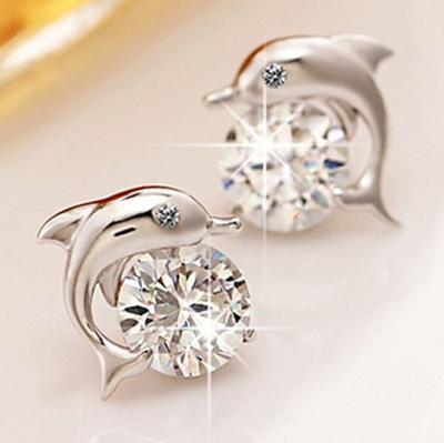 Silver Dolphin Zircon Earrings Japan and South Korea Sweet Wind Pure Silver Earrings Female Earrings Super Flash Diamond Earrings 2021 Trendy