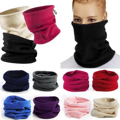 Warm Fleece Snoods Scarf Winter Outdoor Sport Neck Warmer Hat Unisex Men Women Beanie Caps