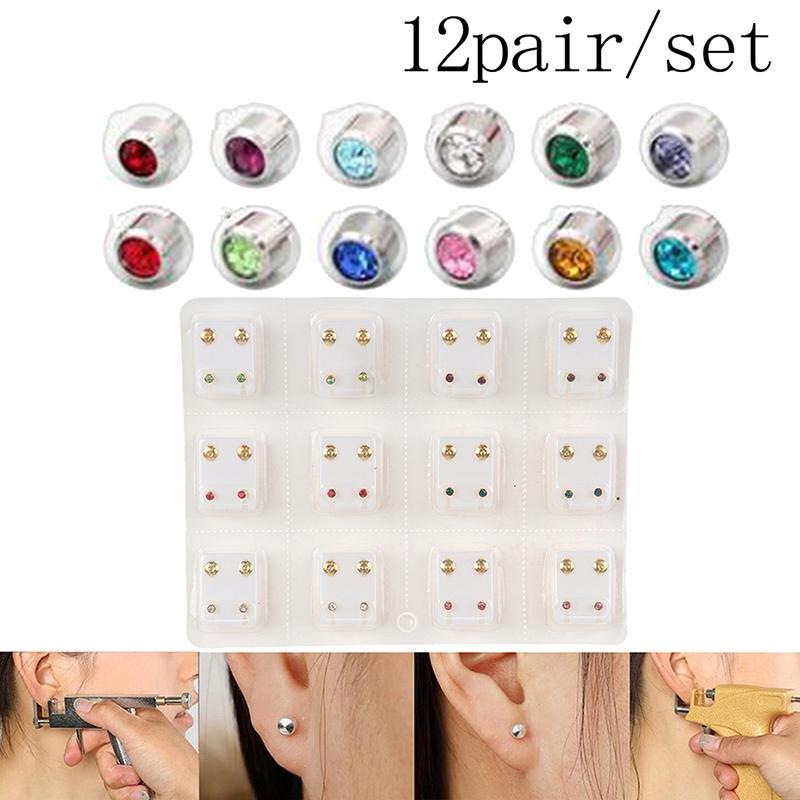 12Pairs Medical Earrings Piercing Tool Kits Ear Stud Surgical Steel Ear Studs a+