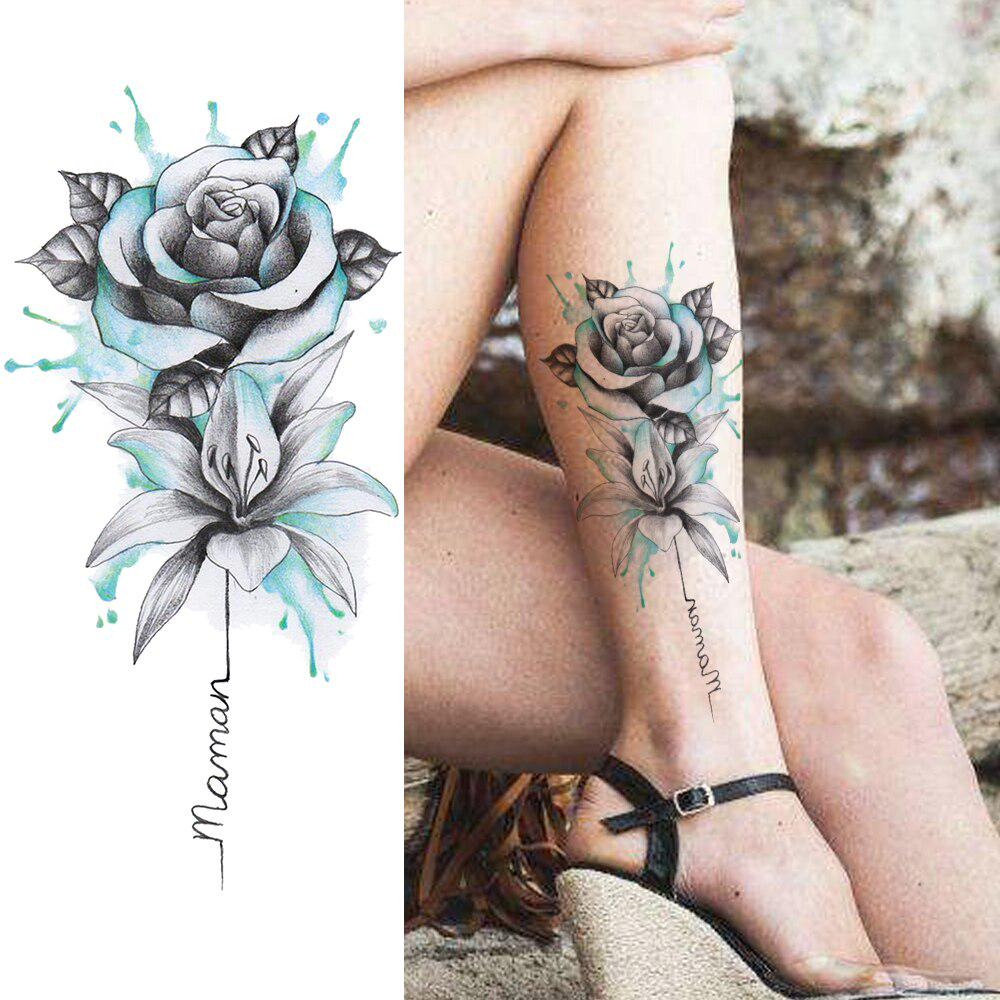 1pc Watercolor Flower Temporary Tattoos Sticker Realistic Fake Rose Waterproof Tattoo For Women Girl Body Art Drawing Legs Arm Tatoo Buy From 2 On Joom E Commerce Platform