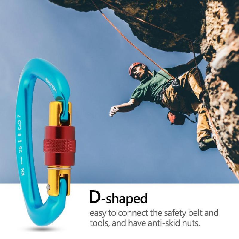 Carabiner Outdoor Rock Climbing Safety Metal Screw Hook Lock D Buckle 400KG