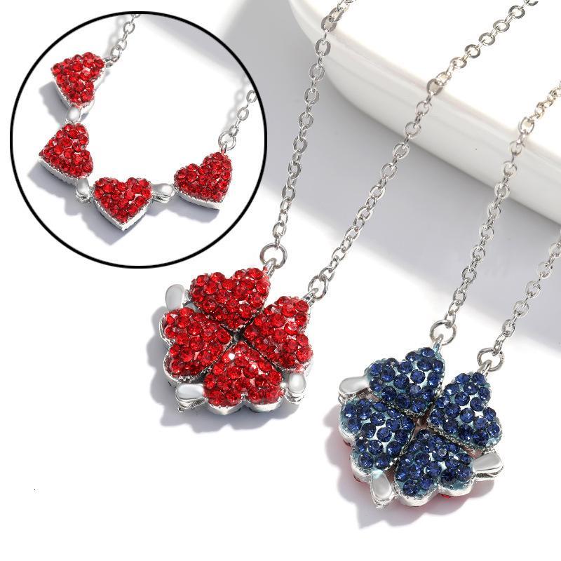 Women Lucky Crystal Rhinestone Four Leaf Clover Heart Pendant Necklace Charm