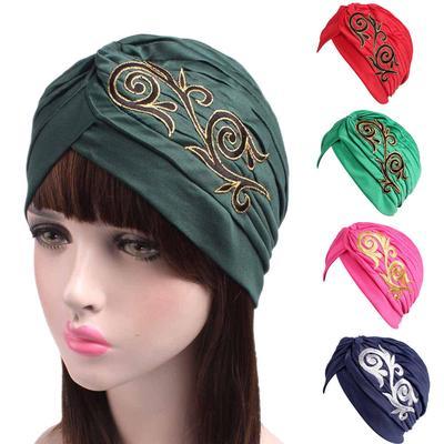 Women Embroidery Cancer Chemo Hat Beanie Scarf Turban Head Wrap Cap bf4ff65d77d