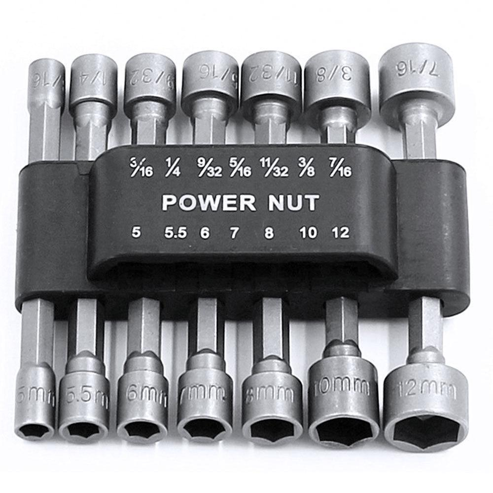 "9Pc Hex Magnetic Nut Driver Set 1//4/""-1//2/"" Imperial CRV Perceuse Bits Socket"