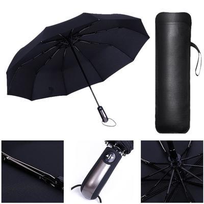 Creative For Men Rain Sun Umbrella Women Automatic Tri fold Folding 10 Bone Wooden Handle Business Womens Umbrella Double Layer,Black-Black