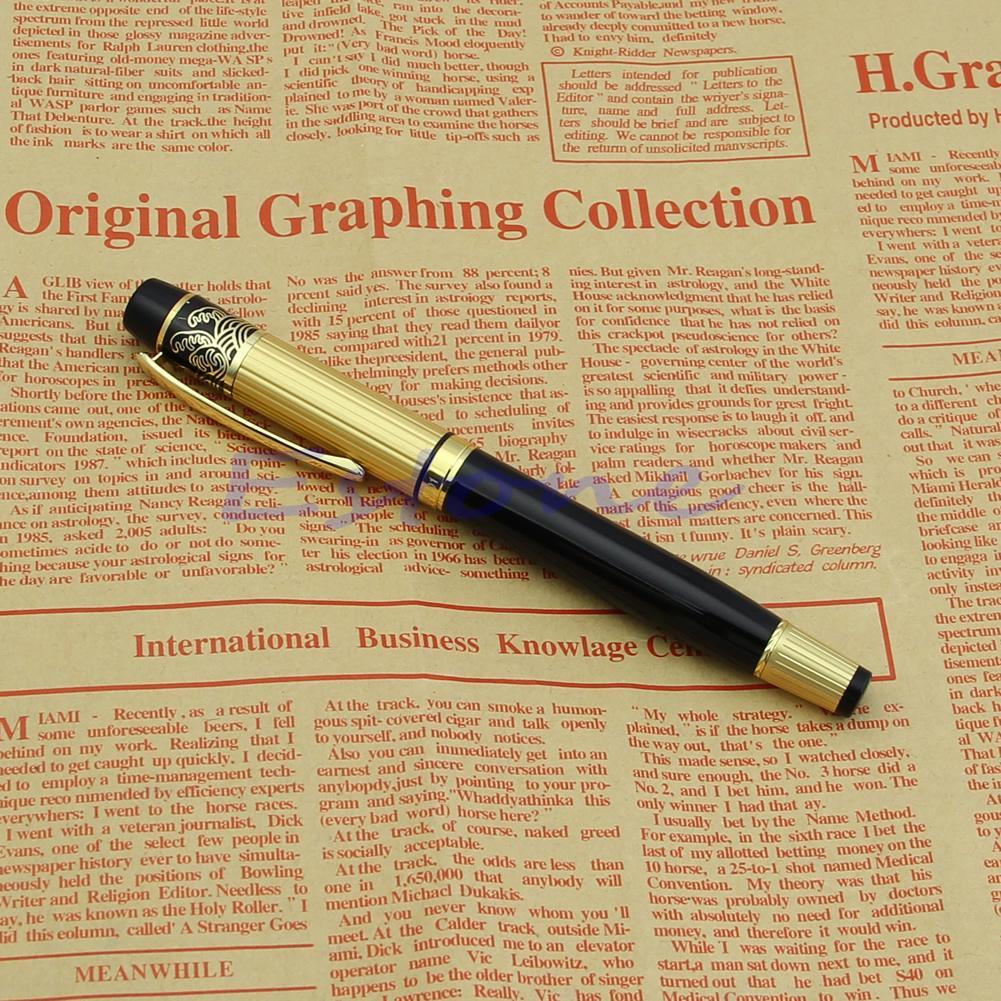 Stainless Steel Baoer 801 Fountain Pen Gold Trim Medium Nib