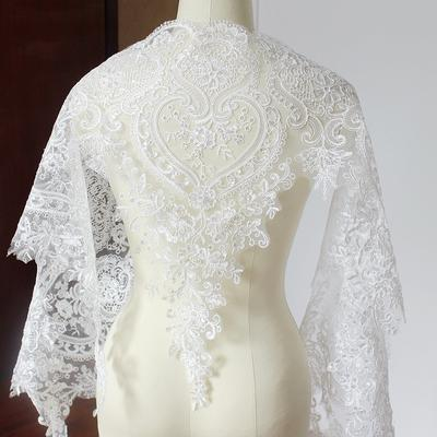 1 Yard Sequins Embroidery Bridal Lace Trim Gown Dress DIY Craft Material
