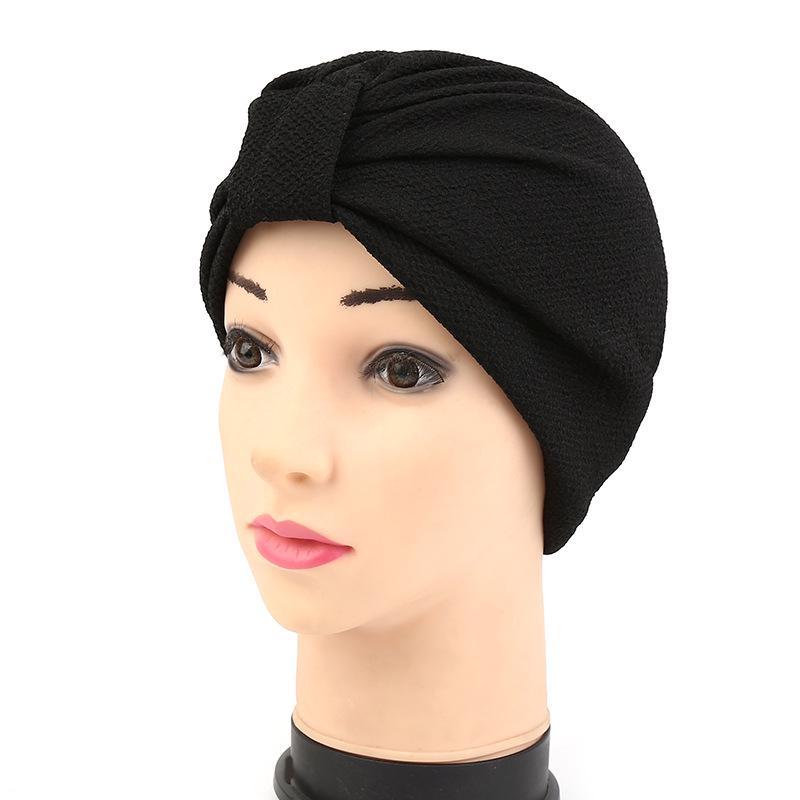 Donna Indiano Elasticizzato Chemio A pieghe Fiore Turbante Cappello Testa Avvolgere Hijab Cap