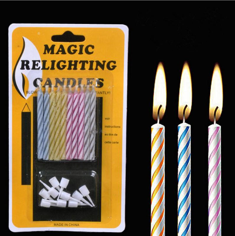10 Magic Relighting Candles For Birthday Fun Party Cake Boy Girls
