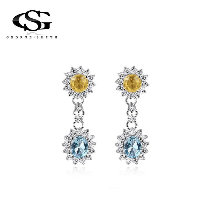 4f0dbd87f43a Mujeres de Roxi flor de lujo dos diseño pendientes de circón azul y ...