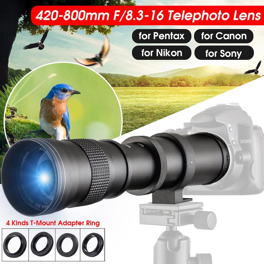 420-800mm F//8.3-16 Telescope Manual Focusing Zoom Lens for Nikon F Mount Camera