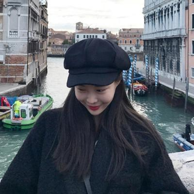 700e2ca899ab0 Hat Autumn and Winter Female Literary Imitation Cashmere Octagonal Cap Soft  Sister Tide Beret Hat
