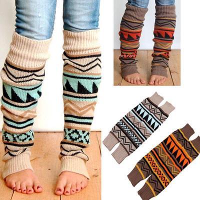 Bota larga de invierno calcetines calentadores ganchillo punto alto ...