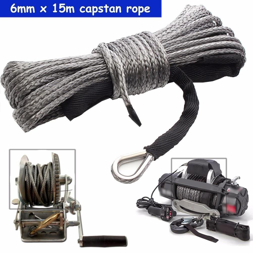 3//16/'/' x 50/' 7700LBs Synthetic Winch Line Cable Rope W// Sheath For Car ATV UTV