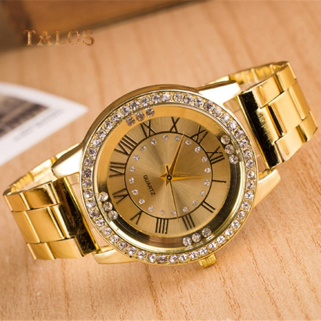 Мода женщин римские цифры камни круглый циферблат аналоговые кварцевые наручные часы брелок Аксессуары фото
