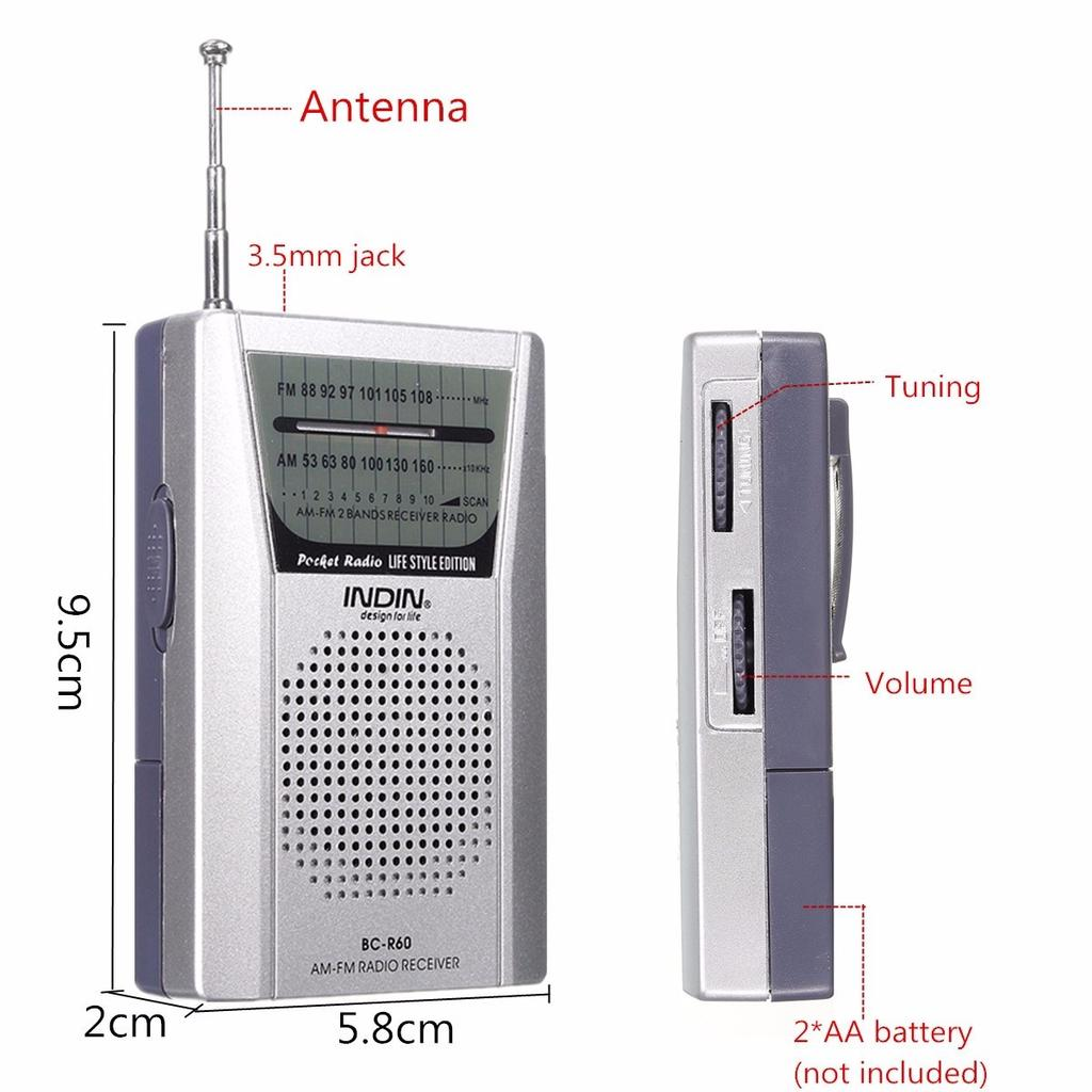 Mixcity 3 5mm Portable Mini Pocket Radio Player Am Fm Receiver 1 Of 10
