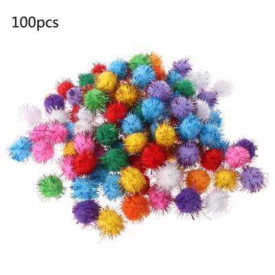 50pcs Mixed Color Wool Felt Pom Pom Ball Beads DIY Materials 15mm