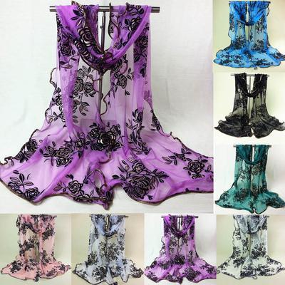 Women Girls Flower Print Lace Scarf Long Soft Wrap Shawl Stole Pashmina Scarves