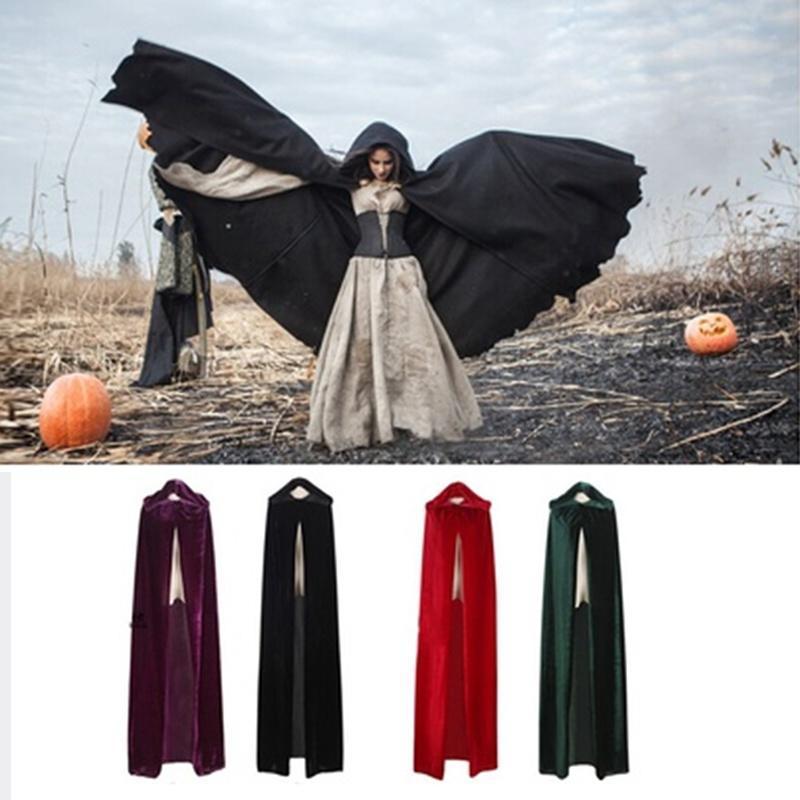 6c3620c3f4a4f Fashion Halloween Pure Color Witch Cloak Gold Velvet Cloaks COS Dead ...