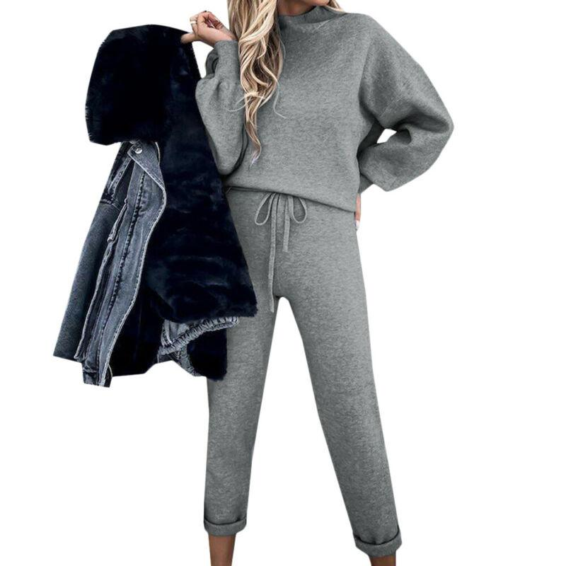 Details about  /2PSC Women Full Suit Solid Color Loose Sweater Long Sleeves Oversized Warm Suit
