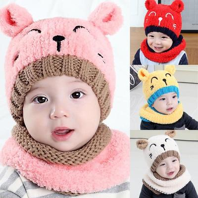 Cute Baby Toddler Winter Warm Hat Hooded Scarf Earflap Knitted Cap