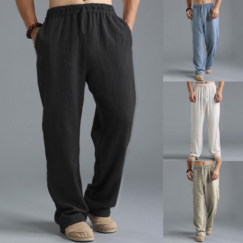 Summer Men Casual Pants Straight Leg Long Trousers Cotton Linen Loose Sweatpants