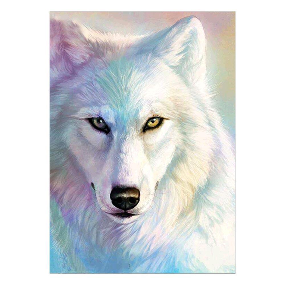 5D Diamant weißen Wolfs  Diamond DIY Kreuzstich Stickerei  Malerei Bilder
