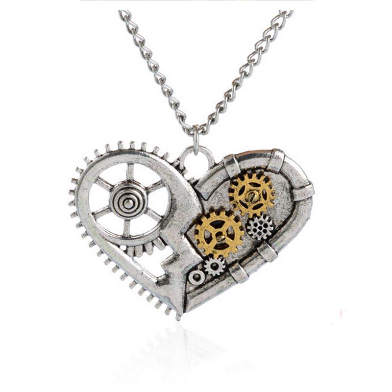 Steampunk Necklace Heart Bee Key Vintage Pendant Gears Mechanical Jewellery Gift