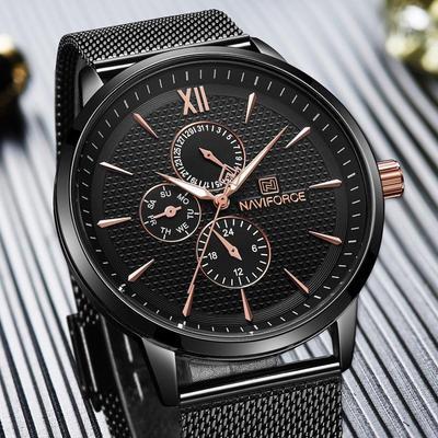 Business Wristwatch for Men Luxury Gold Stainless Steel Mesh Quartz Watches
