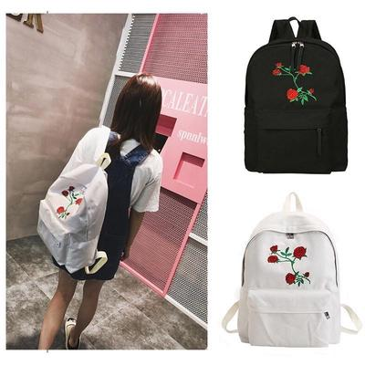 34ffbe4d53 Travel Students Canvas Double Shoulder Bag Women Moon Wood Harajuku Rose  Embroidery Bag