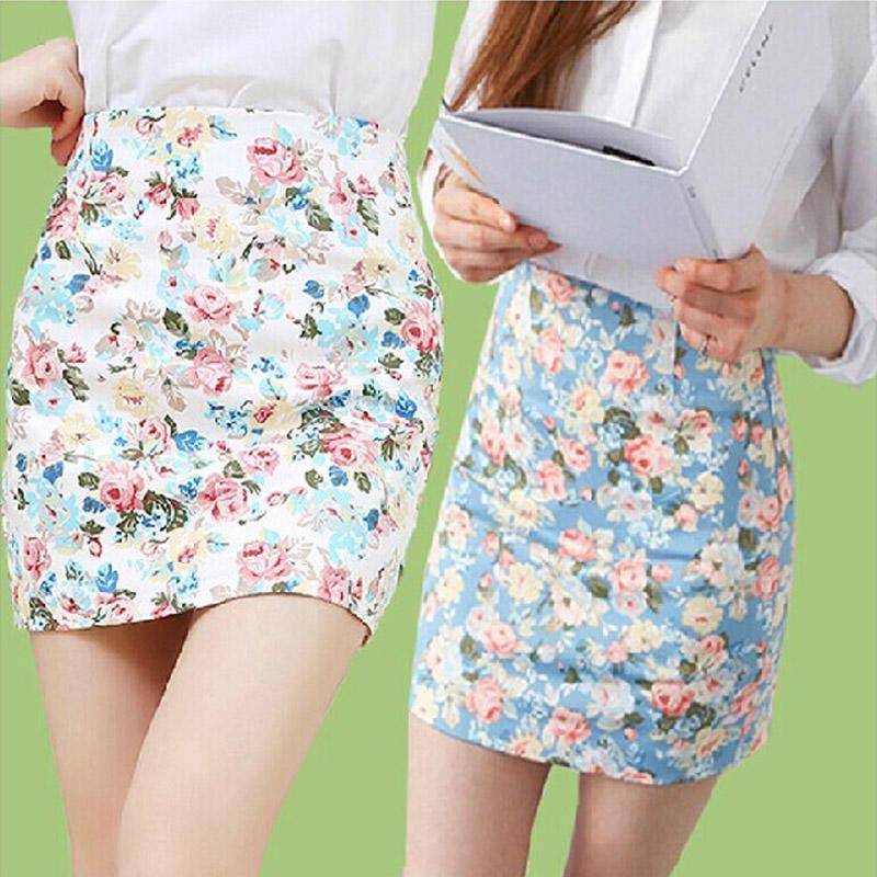2018春夏季职业装印花包臀裙 碎花半身短裙 一步裙A字裙
