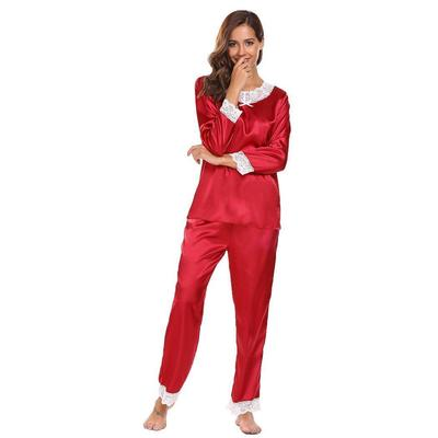 Women Lace Trimmed V-Neck Long Sleeve Tops with Elastic Waist Pants Pajamas  Sets c0a040675